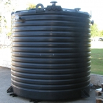 Large industrial black HDPE tank