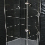 Diagonal 4 shelf Acrylic stand on 2 Pac base