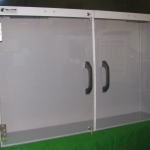PVC display cabinet with polycarbonate doors
