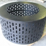 Top of large HDPE strainer with vertical holes