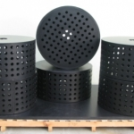 Large HDPE strainers with circular holes