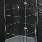 Diagonal 4 shelf Acrylic stand on 2 Pac base