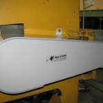 Close up of Grey PVC Protective Guard for Band Saw